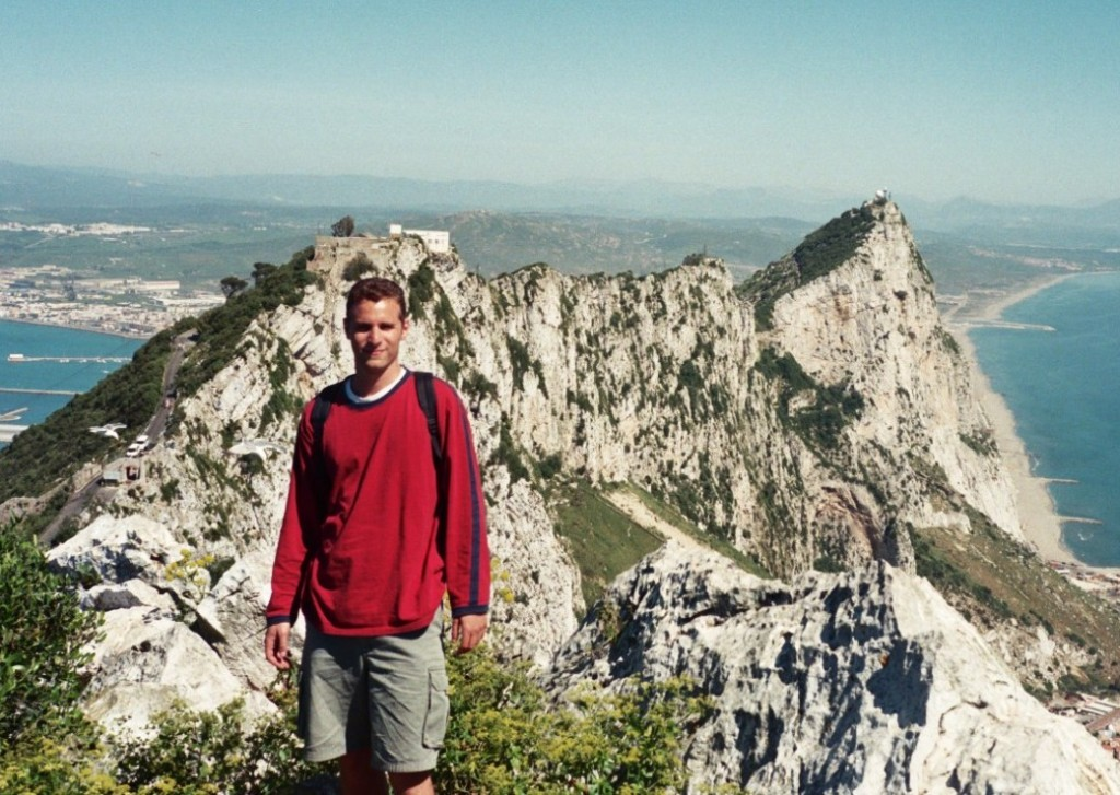 Author Scott Abrams scaling the Rock of Gibraltar, 2001