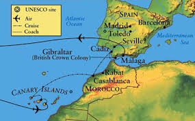 The Canaries in relation to mainland Spain and western Africa